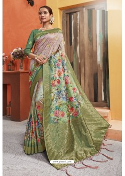 Multi Colour Silk Printed Designer Saree