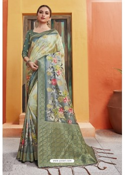 Sea Green Silk Printed Designer Saree