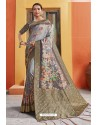 Light Grey Silk Printed Designer Saree