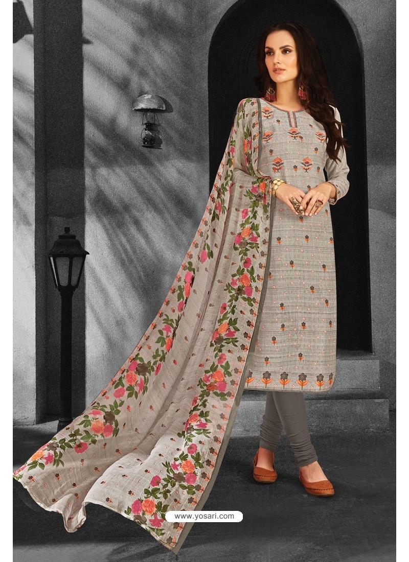 Light Grey Pure Pashmina Churidar Suit
