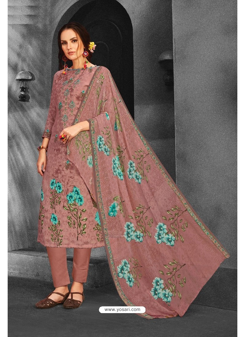 Old Rose Pure Pashmina Straight Suit
