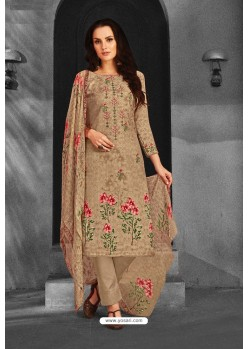 Beige Pure Pashmina Straight Suit