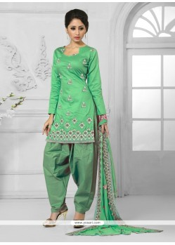 Prepossessing Cotton Green Embroidered Work Designer Patila Salwar Suit