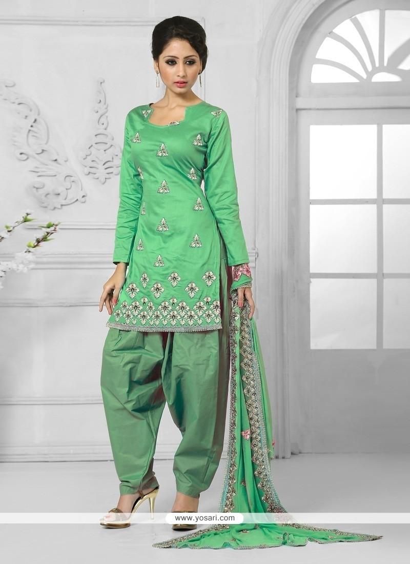 Prepossessing Cotton Green Embroidered Work Designer Patila Salwar Suit
