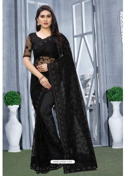 Black Net Resham Embroidered Party Wear Saree