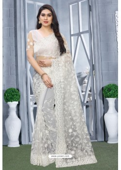 White Net Resham Embroidered Party Wear Saree