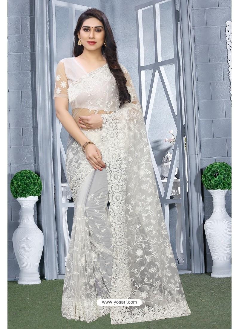 White Net Resham Embroidered Party Wear Saree