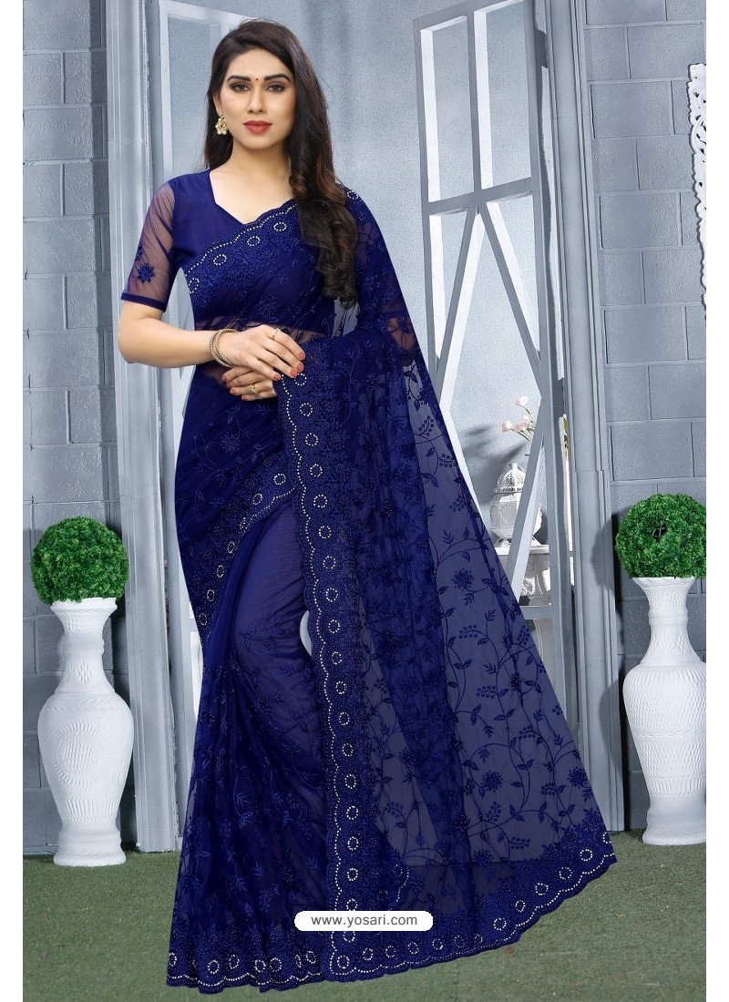 Royal Blue Net Resham Embroidered Party Wear Saree
