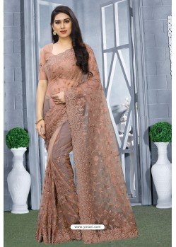 Dusty Pink Net Resham Embroidered Party Wear Saree