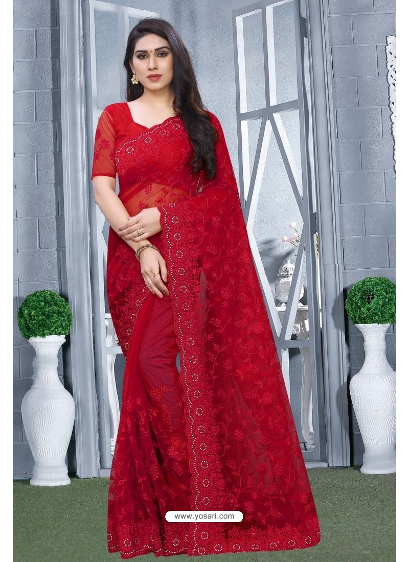 Red Net Resham Embroidered Party Wear Saree