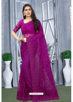 Purple Net Resham Embroidered Party Wear Saree