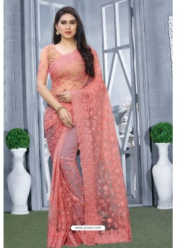 Peach Net Resham Embroidered Party Wear Saree