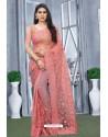 Peach Net Resham Embroidered Party Wear Saree