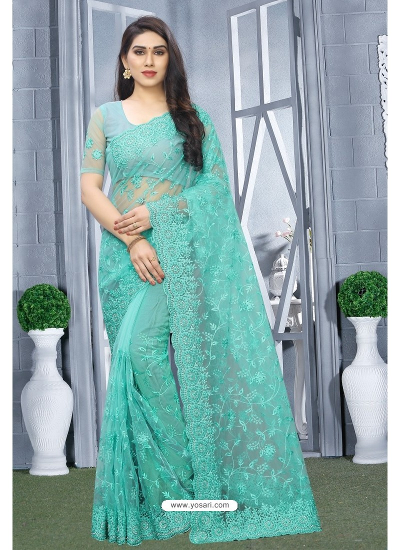 Turquoise Net Resham Embroidered Party Wear Saree
