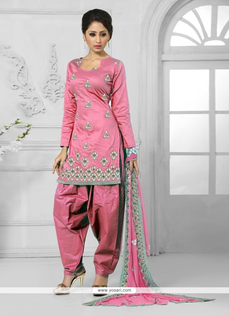 Royal Cotton Resham Work Designer Patiala Suit