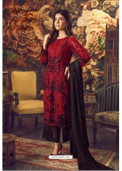 Red And Black Faux Georgette Embroidered Straight Suit