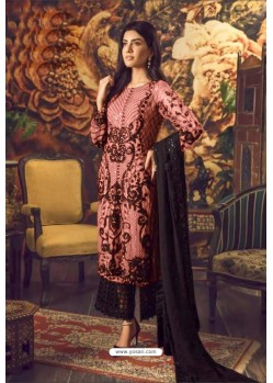 Peach And Black Faux Georgette Embroidered Straight Suit