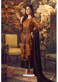 Mustard And Black Faux Georgette Embroidered Straight Suit