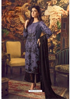Dark Blue And Black Faux Georgette Embroidered Straight Suit
