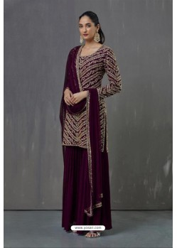 Purple Faux Georgette Sequence Worked Palazzo Suit