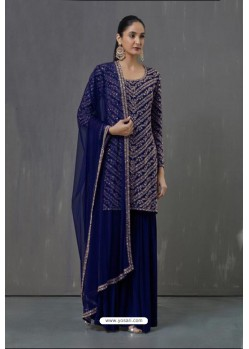 Royal Blue Faux Georgette Sequence Worked Palazzo Suit