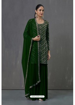 Dark Green Faux Georgette Sequence Worked Palazzo Suit