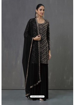 Black Faux Georgette Sequence Worked Palazzo Suit