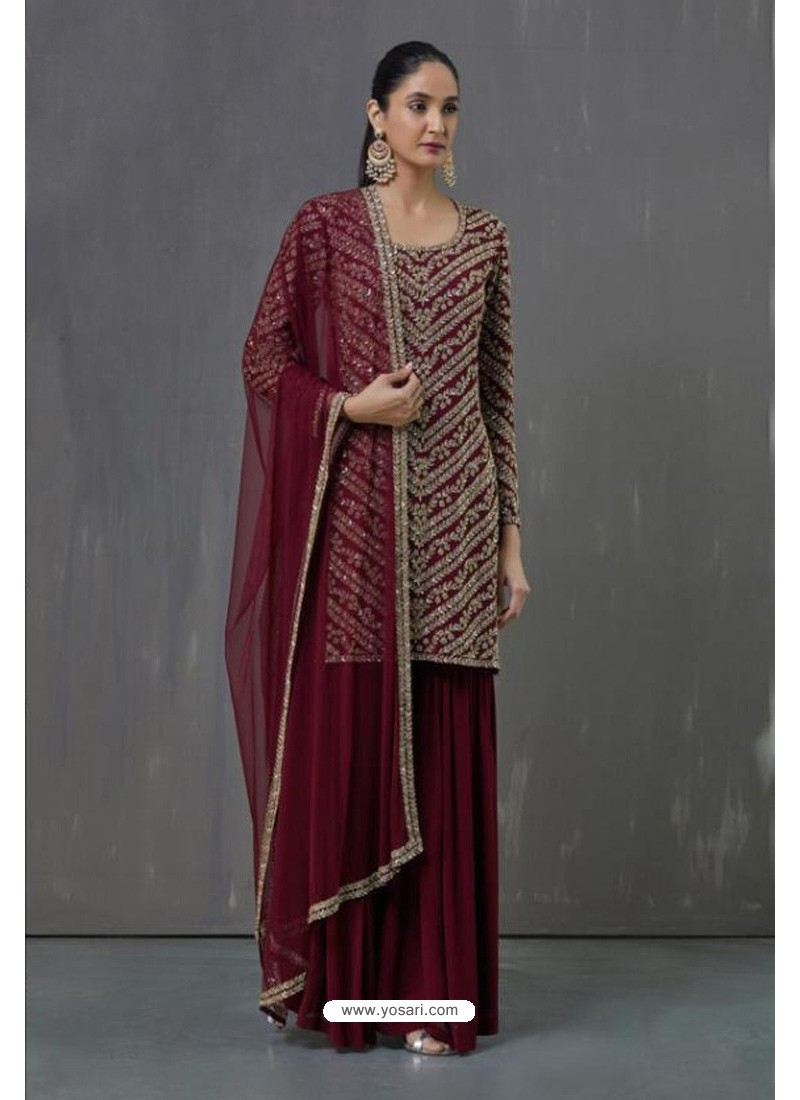 Maroon Faux Georgette Sequence Worked Palazzo Suit