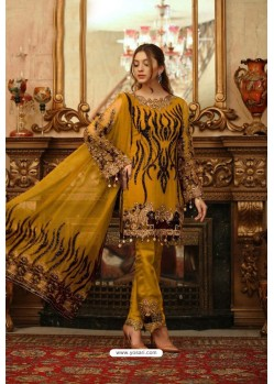 Mustard Heavy Georgette Thread Embroidered Designer Suit