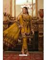 Mustard Heavy Georgette Thread Embroidered Designer Suit