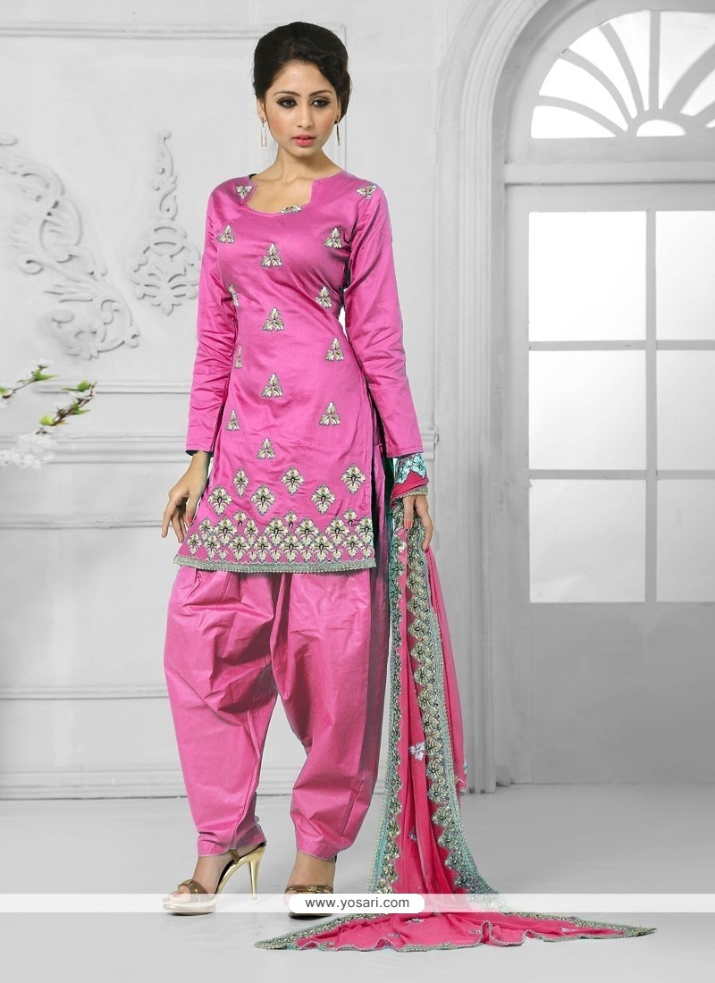 Fantastic Hot Pink Resham Work Cotton Designer Patiala Salwar Kameez