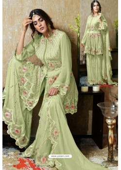 Sea Green Heavy Faux Georgette Designer Sharara Suit