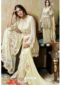 Cream Heavy Faux Georgette Designer Sharara Suit
