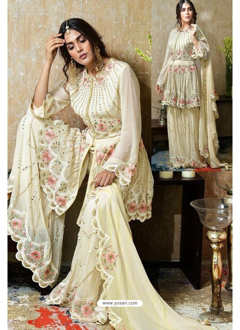 Cream Heavy Faux Georgette Designer Sharara Suit