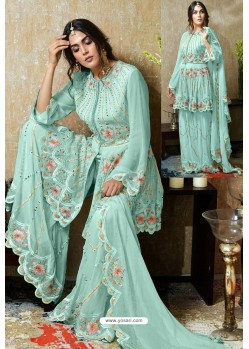 Sky Blue Heavy Faux Georgette Designer Sharara Suit