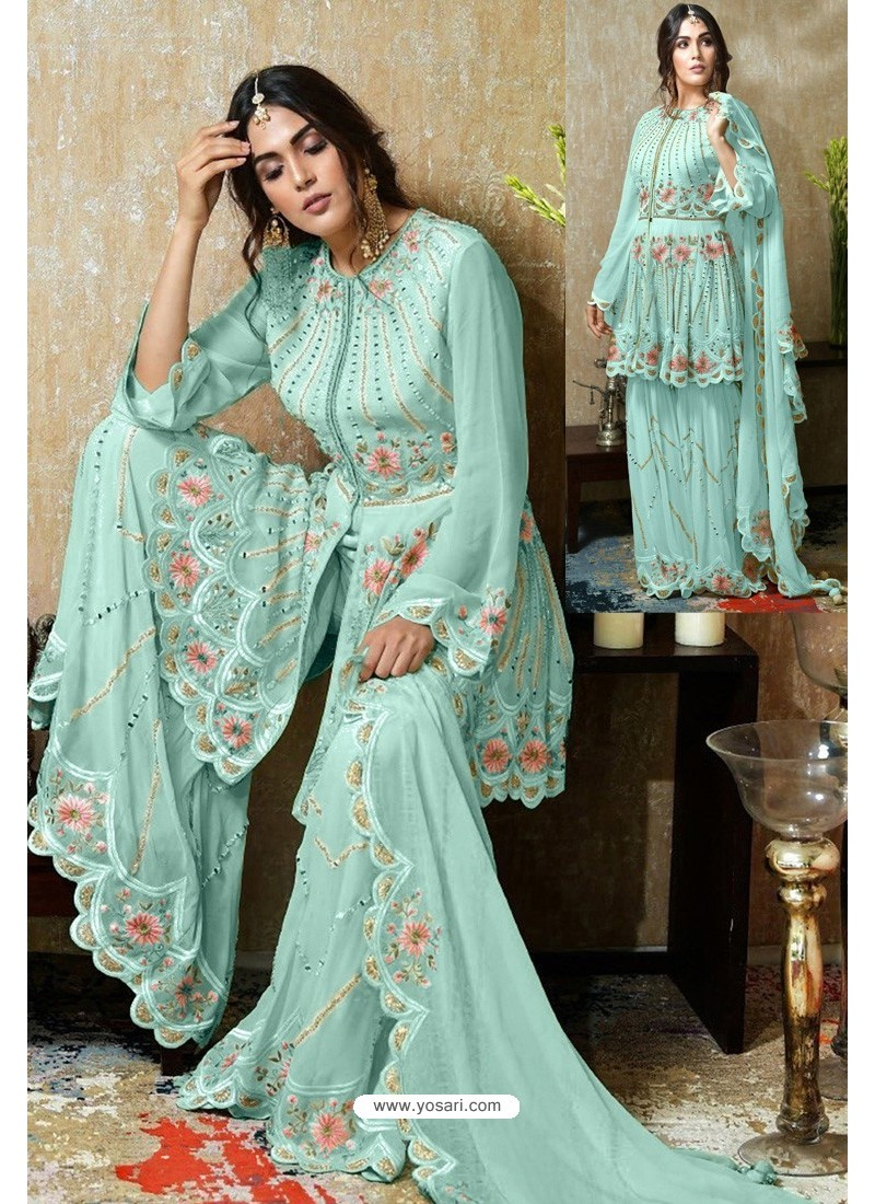 Sky Blue Heavy Faux Georgette Designer Sharara Suit