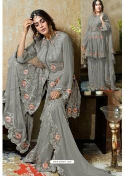 Grey Heavy Faux Georgette Designer Sharara Suit