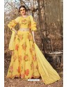 Yellow Organza Printed Designer Lehenga Choli
