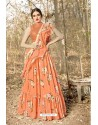 Orange Georgette Printed Designer Lehenga Choli
