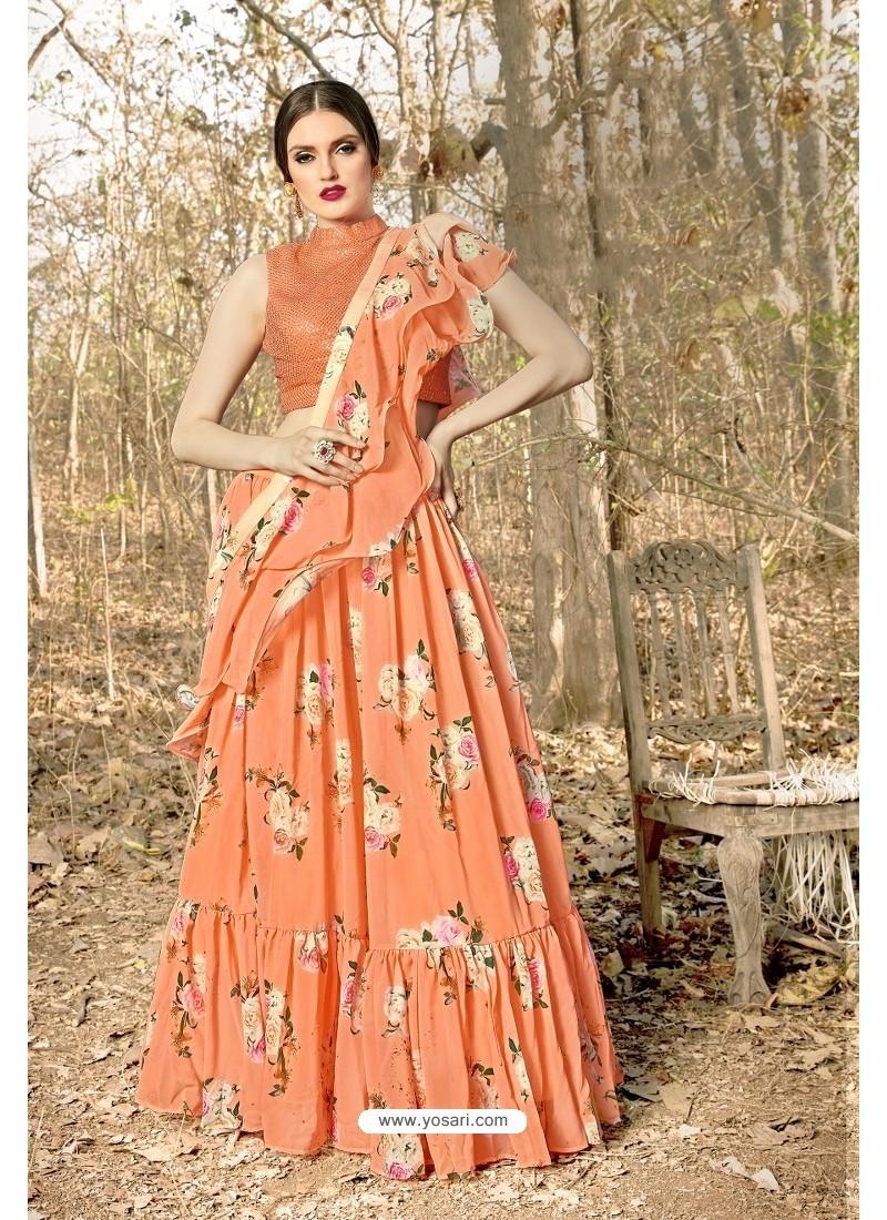Orange Georgette Printed Designer Lehenga Choli