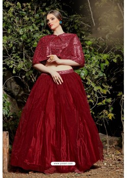 Maroon Imported Fabric Fancy Worked Designer Lehenga Choli