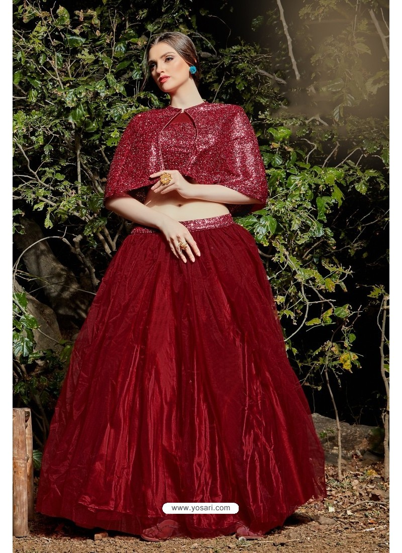 Maroon Imported Fabric Fancy Worked Designer Lehenga Choli