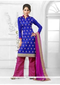 Extraordinary Resham Work Blue Designer Palazzo Salwar Kameez