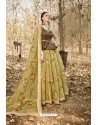 Mehendi And Brown Art Silk Printed Designer Lehenga Choli
