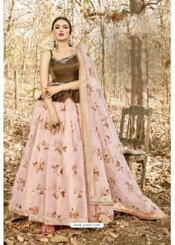 Baby Pink And Brown Art Silk Printed Designer Lehenga Choli