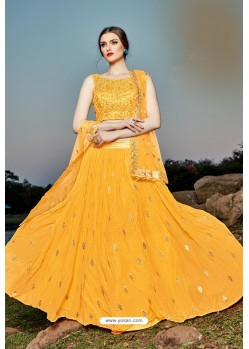 Mustard Georgette Sequence Worked Designer Lehenga Choli