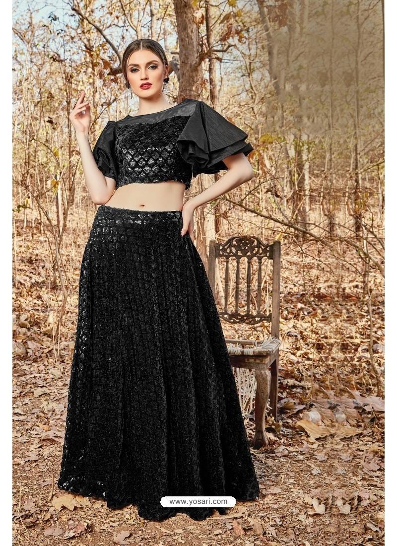 Black Velvet And Art Silk Designer Lehenga Choli