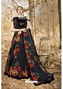 Black Velvet Printed Designer Lehenga Choli