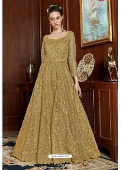 Golden Net Designer Party Wear Gown