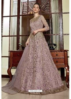Desirable Dusty Pink Net Designer Party Wear Gown